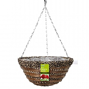 Sisal Rope & Fern Hanging Basket 35cm
