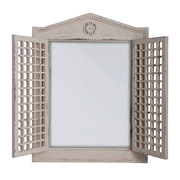 Rustic White Wooden Mirror with Lattice Doors