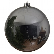 Shiny Dark Silver Bauble - 14cm