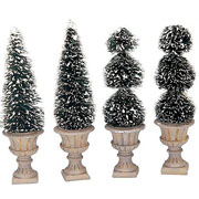 Lemax Cone-Shaped & Sculpted Topiaries (Set of 4)