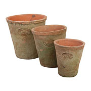 Round Aged Terracotta Pots - Set of 3