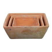 Square Aged Terracotta Pots - Set of 3