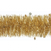 Festive Gold Die Cut Star Tinsel - 2m