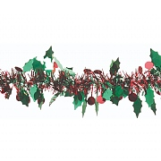 Festive Green Die Cut Holly & Red Berry Tinsel - 2m