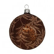 Gisela Graham Antique Chocolate Bauble with Glitter Ferns