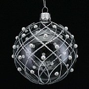 Gisela Graham Clear Ball With Silver Glitter Trellis - 80m