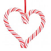 Gisela Graham Acrylic Candy Cane Heart Tree Decoration