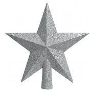 Decoris Silver Tree Top Glitter Star