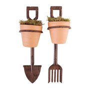 Cast Iron Spade & Fork Flower Pot Holders