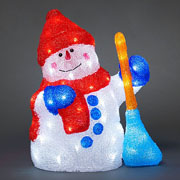 Acrylic LED Snowman with Broom