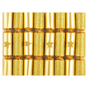 "Robin Reed Gold Glitter Star 6"" Christmas Crackers Pack of 8"