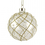 Gisela Graham Clear Glass Bauble with Gold Glitter & Pearl Trellis