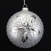 Silver 3D Shiny Snowflakes Bauble 80mm