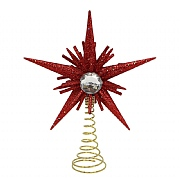 Gisela Graham Red Glitter Diamante Mini Tree Top Star 15cm