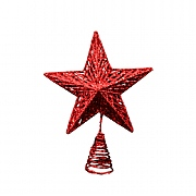 Gisela Graham Red Glitter Acrylic Star Tree Topper