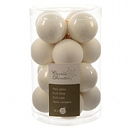 16 Pack Winter White Mini Glass Baubles