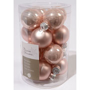 Blush Pink 35mm Mini Glass Baubles Tub of 16