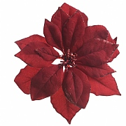 Burgundy Clip On Poinsettia With Glitter Edges - 24cm