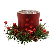 Decoris Red Glass Tealight Holder with Wreath