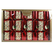 "Holly Red & Gold 14"" Premium Crackers - Pack of 8"
