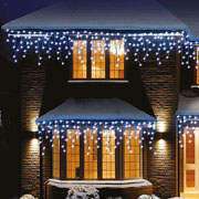240 Cool White LED Snowing Icicle Lights with Timer