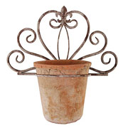 Aged Metal Single Flower Pot Holder