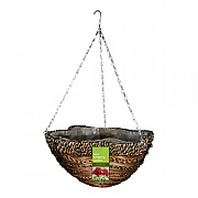 Sisal Rope & Fern Scalloped Basket 35cm