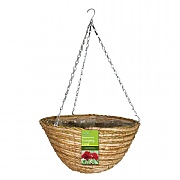 Rattan & Corn Rope Hanging Basket 35cm