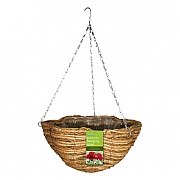 Rattan & Corn Rope Scalloped Basket 35cm