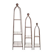 Cast Iron & Ceramic Aged Obelisks - Set of 3