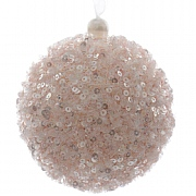 Blush Pink Sequined Foam Bauble - 8cm