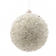 Winter White Sequined Foam Bauble - 8cm