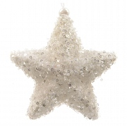 Decoris Winter White Foam Star with Sequins
