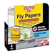 Zero In Fly Papers (Pack of 4)