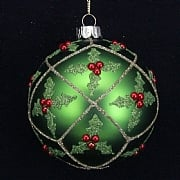 Gisela Graham Matt Green with Holly Trellis Bauble 80mm