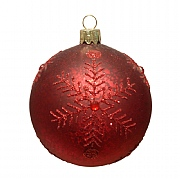 Gisela Graham Antique Matt Cherry Red Bauble with Red Snowflake