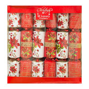 "Poinsettia 14"" Luxury Crackers - Pack of 12"