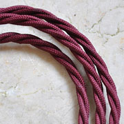 Antique Burgundy Twisted Cord Vintage Lighting Cable 1m