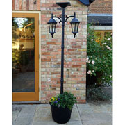 Solar Dual Head Lamp Post with Planter Base