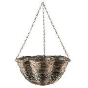 "Gardman 14"" White Wash Rattan Scalloped Hanging Basket"