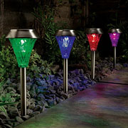 Solar Stainless Steel Colour Changing Post Light - 4 Pack