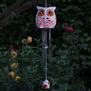 Smart Solar Ceramic Snowy Owl Wind Chime Light