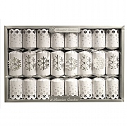 "Luxury Silver Snowflake 14"" Christmas Crackers (Pack of 8)"