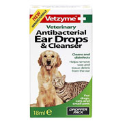 Vetzyme Antibacterial Ear Drops & Cleanser 18ml
