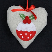 Fabric Heart with Red Pudding