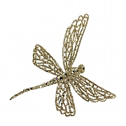 Gisela Graham Gold Glitter Dragonfly On Clip Tree Decoration