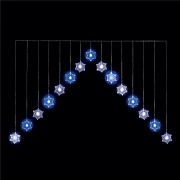 15 Blue & White LED Snowflake Curtain Light