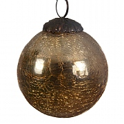Golden Glass Crackle Bauble - 7.5cm