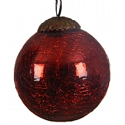 Red Glass Crackle Bauble -7.5cm
