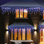 240 Blue & White LED Snowing Icicle Lights with Timer